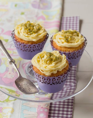 Passionfruit Cup Cakes with Cream Cheese and White Chocolate Frosting