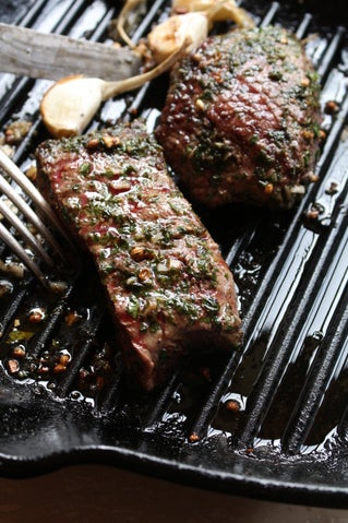 Coriander and Herbed Flat Iron Steaks