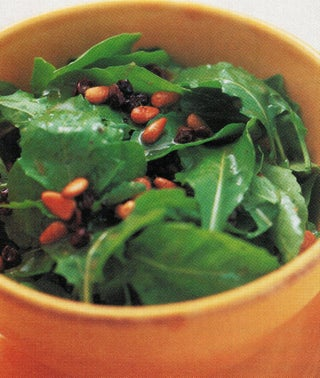 Salad Leaves With Pinenut And Currant Dressing