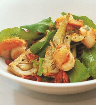 Roasted fennel and scallop salad