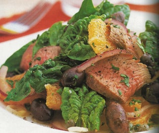 Chargrilled lamb with orange, olive and coriander salad