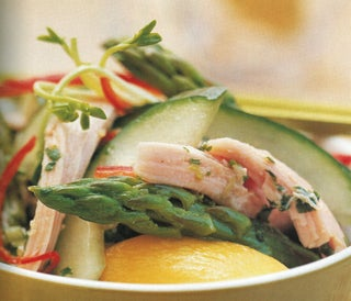 Smoked Chicken And Asparagus Salad With Chilli Mint Dressing