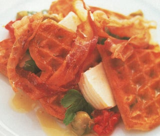 Spring Onion Waffles With Semi Sundried Tomatoes And Fresh Cheese