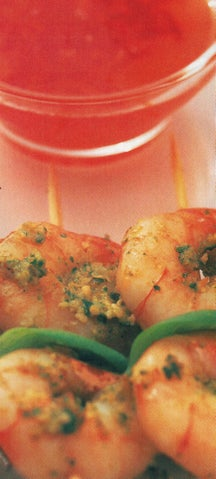 Prawns With Asian Pesto And Chilli  Dipping Sauce