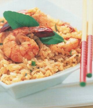 Thai scented stir-fried rice and prawns