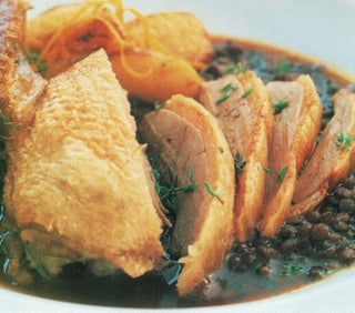 Roast Salted Duck With Rum Soaked Apples And Thyme Lentils