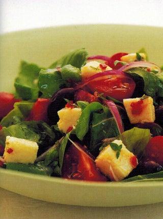 Basil-marinated feta salad