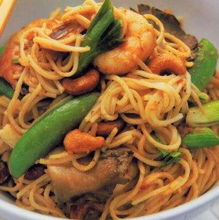 Penang stir-fried prawns and noodles