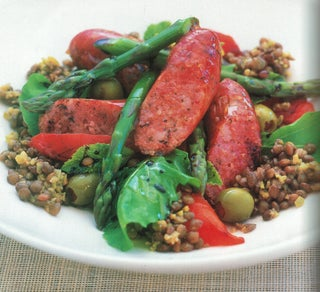 Green Olive And Puy Lentil Salad With Country Pork Sausages