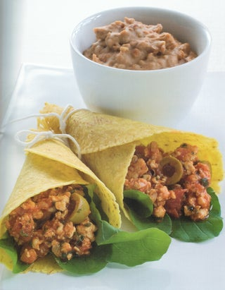 Chicken And Olive Tortillas with Refried Beans
