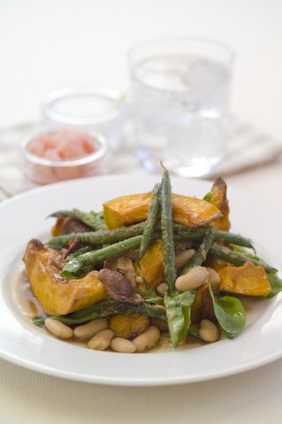Roast Pumpkin And Bean Salad With Japanese Dressing