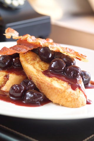 Spiced Cherry French Toasts With Crispy Prosciutto