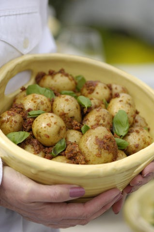 New Potatoes With Sundried Tomato Paste