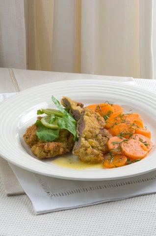 Herbed Lamb Schnitzel With Minted Honey Carrots