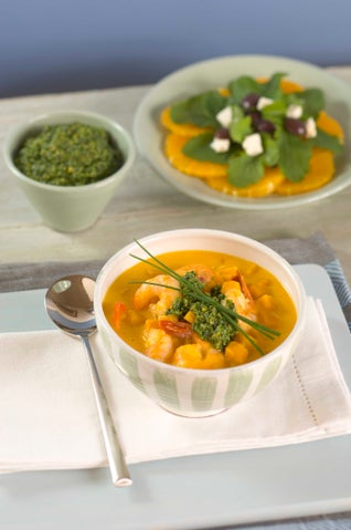 Prawn And Pumpkin Soup With Pesto