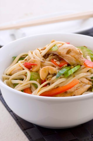 warm chinese chicken and udon salad