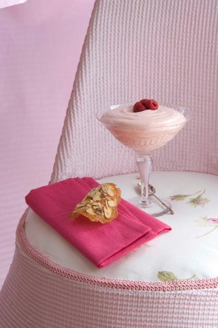 Raspberry And Pink Champagne Syllabub With Almond Wafers
