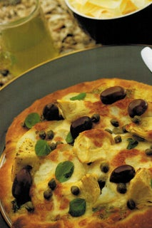 Roasted Potato Pizza With Marinated Artichokes And Watercress Oil