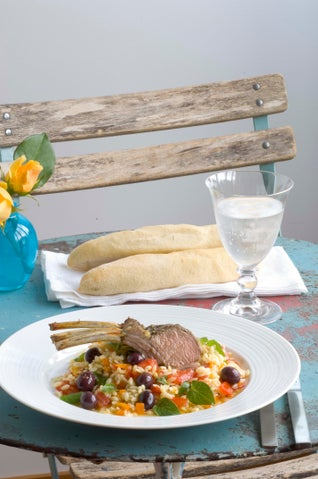 Greek Scented Rack Of Lamb With Orzo Salad
