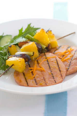 Glazed Ham Steaks With Date And Pineapple Kebabs