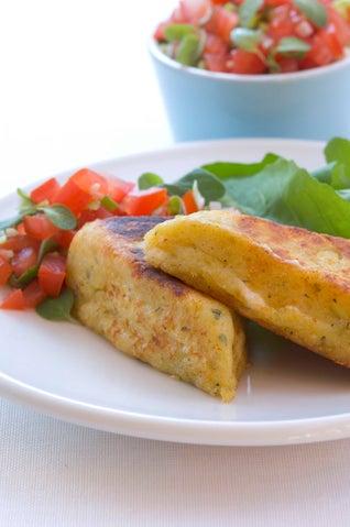 Feta Cheese Potato Cakes With Quick Tomato Salsa