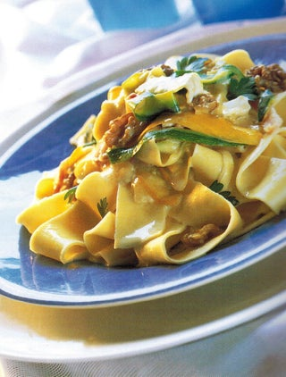 Courgette Ribbons On Pasta