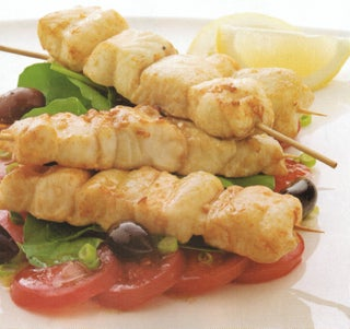 Paprika Fish Kebabs With Tomato And Olive Salad