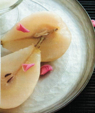 Rose-scented Honey-poached Pears With Pistachio Rice Pudding