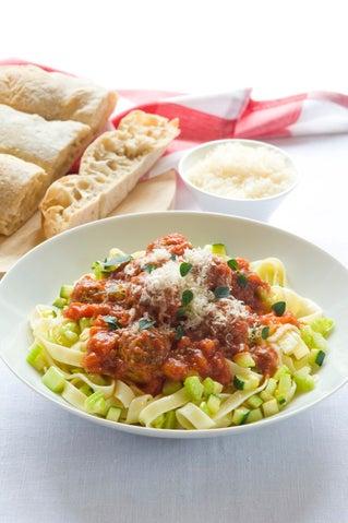 Tuscan meatballs on pasta