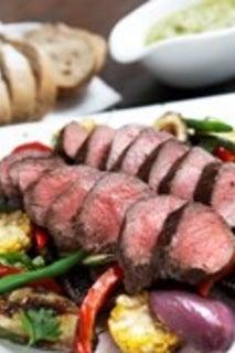 BBQ Cervena Venison Leg Fillets with Toasted Fennel Seed Crust Grilled Summer Vegetables and Walnut Pesto
