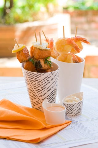Crispy Barbecue Prawns or Salmon with Two Dips