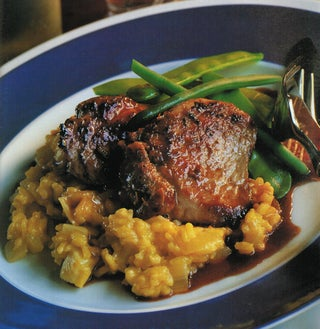 Spicy Lemon Asian Pork On Ginger Risotto