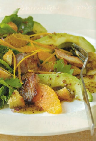 Warm spinach, bacon and orange salad