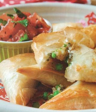 Potato and pea samosa (with chilli and tomato salsa)