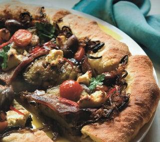 Aubergine and caramelised onion pizza
