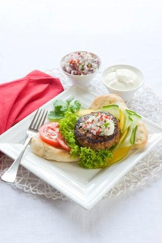 Tandoori burgers with chilli salsa