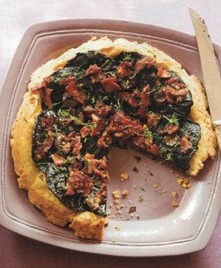 Mushroom 'n' bacon upside-down tart