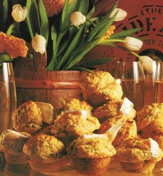 Hot camembert stuffed mini muffins