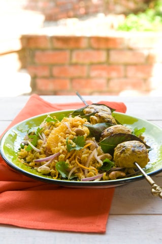 Cashew nut and pilaf rice salad