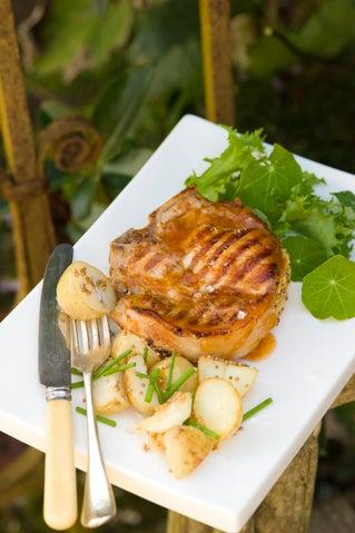 Apricot-stuffed pork loin chops