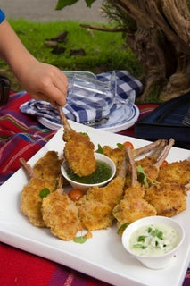 Crumbed lamb cutlets with summer dips