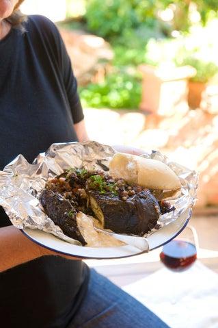 Turkish eggplants with garlic-spiked hummus sauce