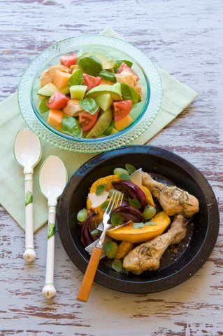 Quick summer chicken and melon salad