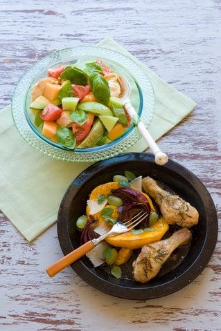 Roast pumpkin and grape salad