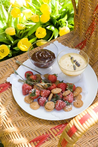 Berries and chocolate sauce