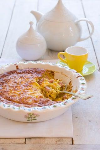 Ham and tarragon self-crusting quiche