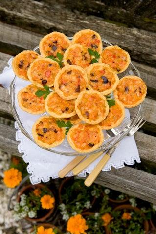 Shrimp and saffron tarts