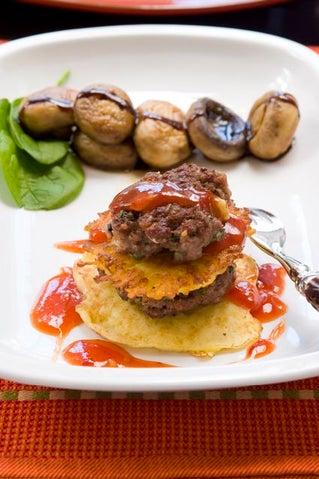 Beef and rosti potato stacks