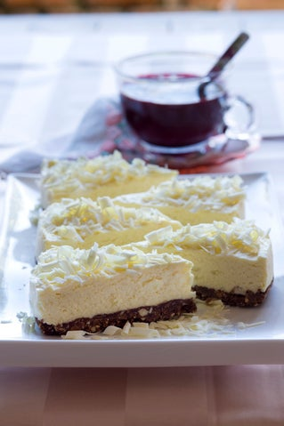 White chocolate cheesecake with boysenberry puree