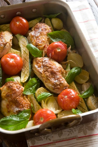 Tomato and chicken bake